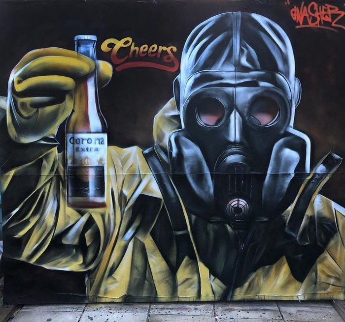 Coronavirus street art by Gnasher in the UK
