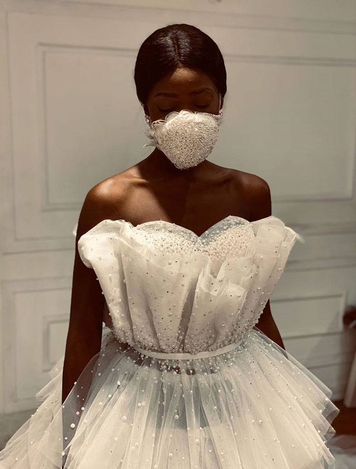 Wedding dress Coronavirus mask